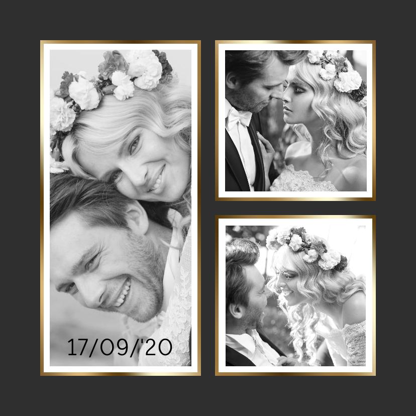 Trouwkaarten - Trouwkaart collage zwart 3x foto