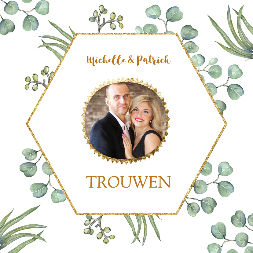 Trouwkaarten - Trouwkaart euqalyptusblad aquarel