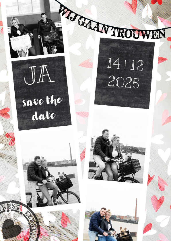 Trouwkaarten - trouwkaart foto strip hartjes