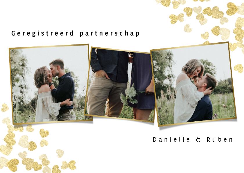 Trouwkaarten - Trouwkaart geregistreerd partnerschap gouden hartjes foto's