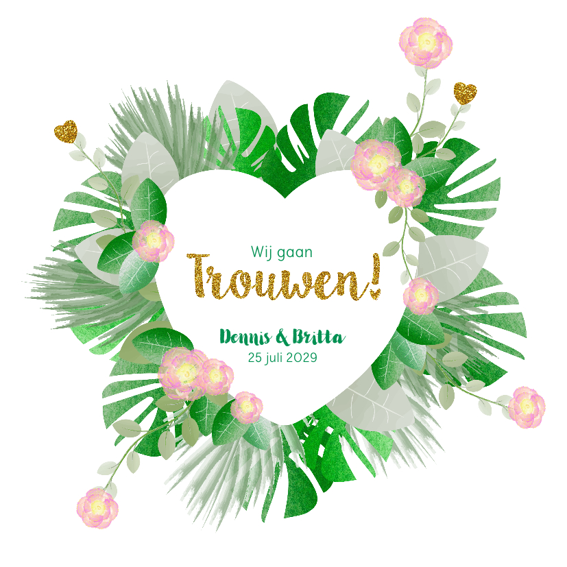 Trouwkaarten - Trouwkaart hippe kaart met bloemen en botanica