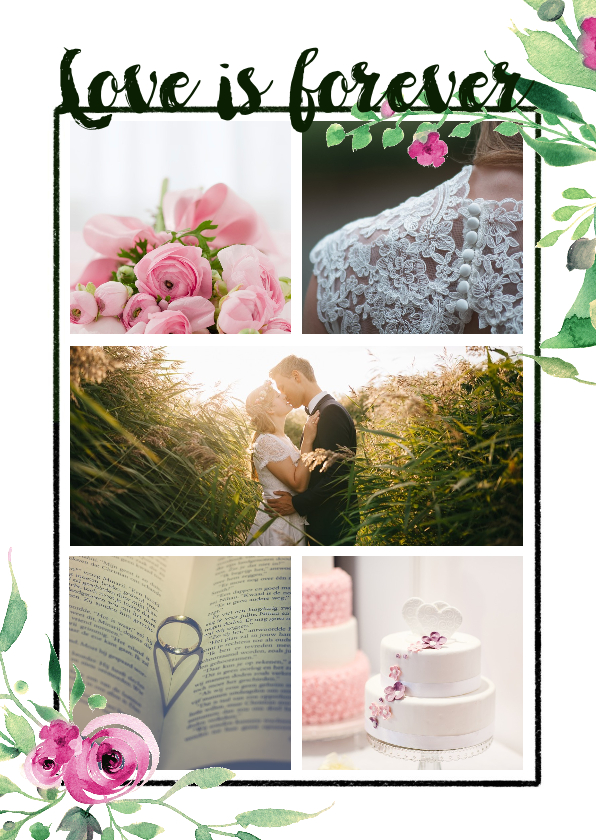 Trouwkaarten - Trouwkaart love is forever stijlvol wit met bloemen