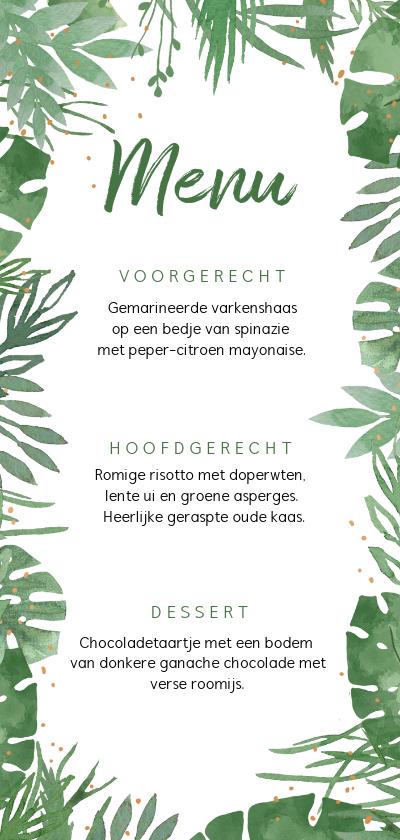 Trouwkaarten - Trouwkaart menukaart botanisch takjes