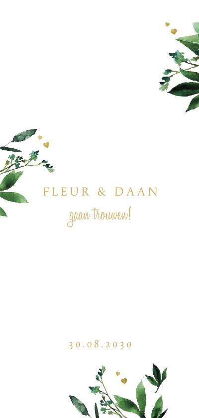 Trouwkaarten - Trouwkaart met botanische elementen