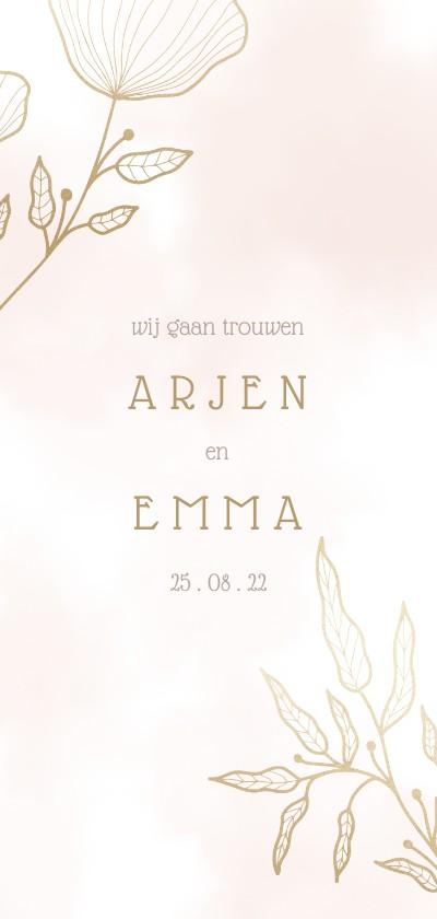 Trouwkaarten - Trouwkaart met elegante bloemen en waterverf langwerpig