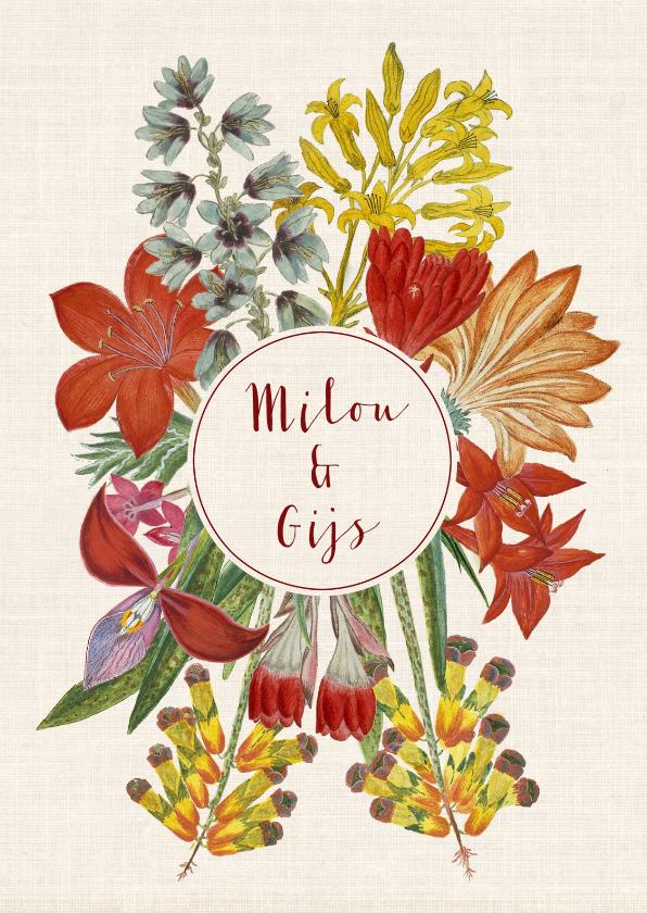 Trouwkaarten - Trouwkaart met krans van vrolijke vintage bloemen