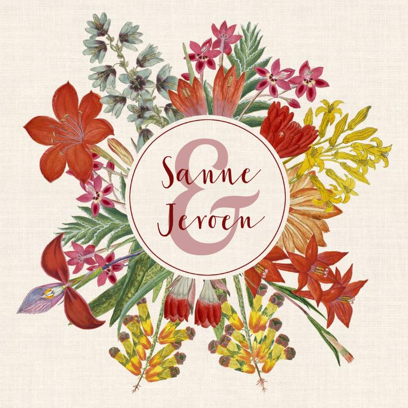 Trouwkaarten - Trouwkaart met prachtige bloemenkrans