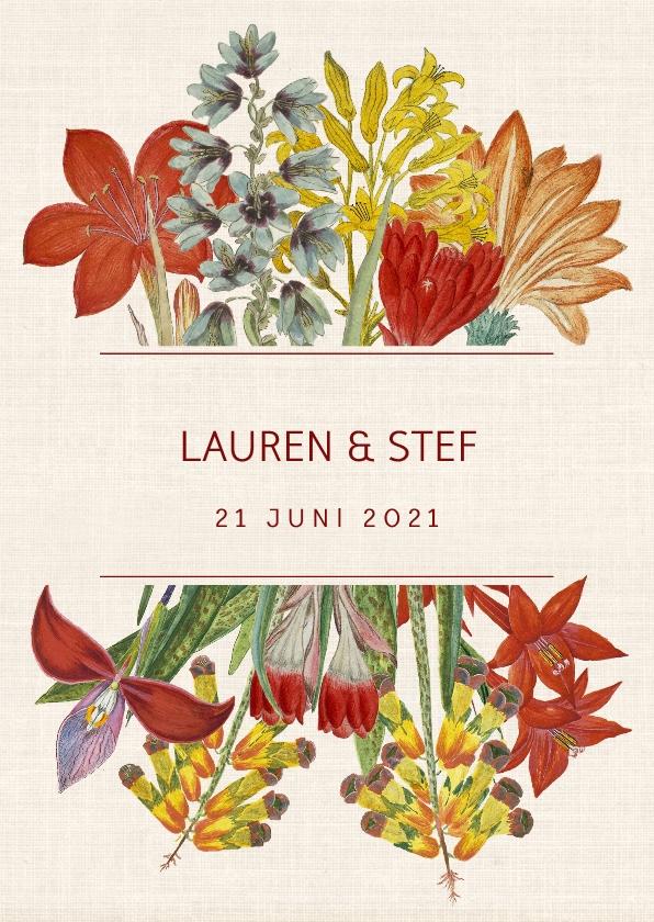 Trouwkaarten - Trouwkaart met prachtige vintage bloemen