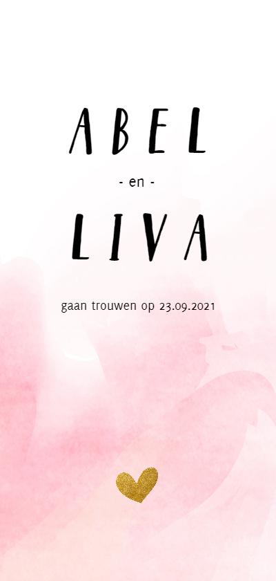 Trouwkaarten - Trouwkaart met roze waterverf