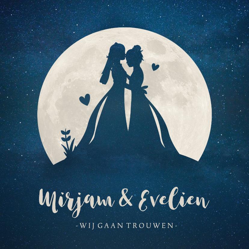 Trouwkaarten - Trouwkaart met silhouetten van 2 vrouwen in volle maan