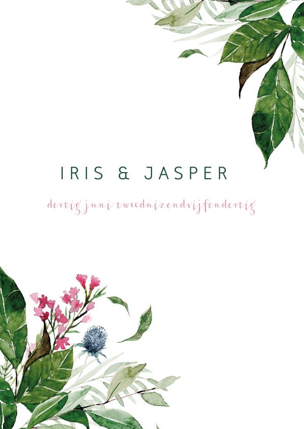 Trouwkaarten - Trouwkaart met watercolor bloemen en bladeren