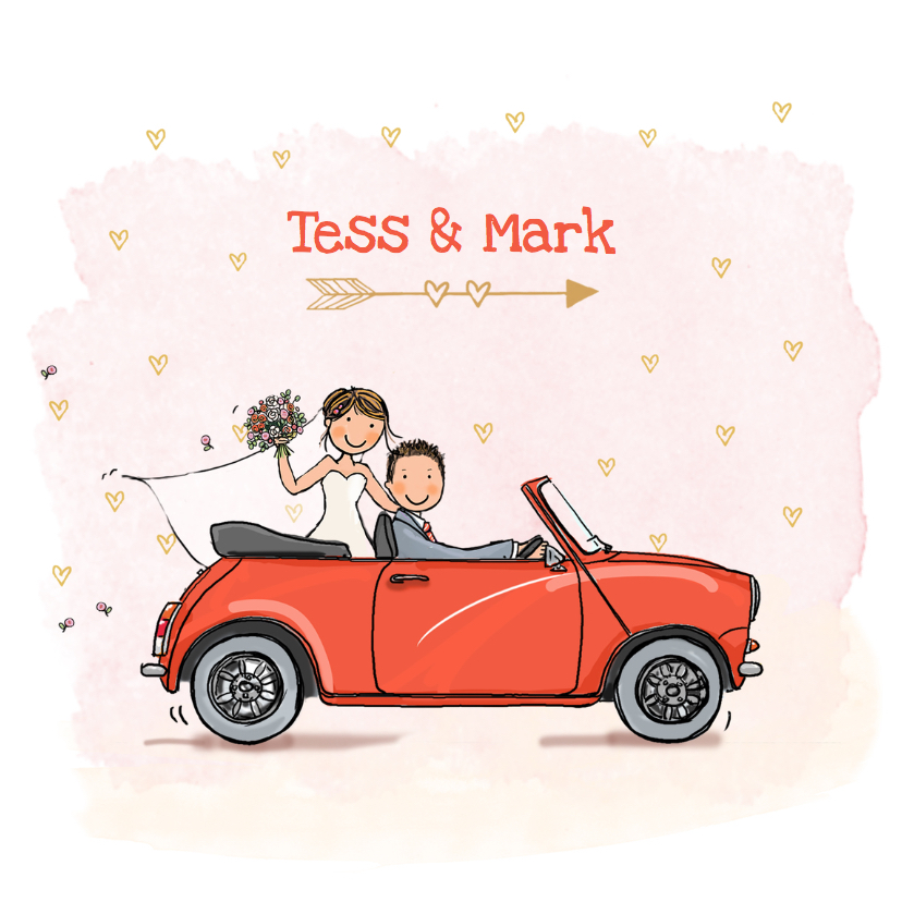 Trouwkaarten - Trouwkaart mini cabrio rood