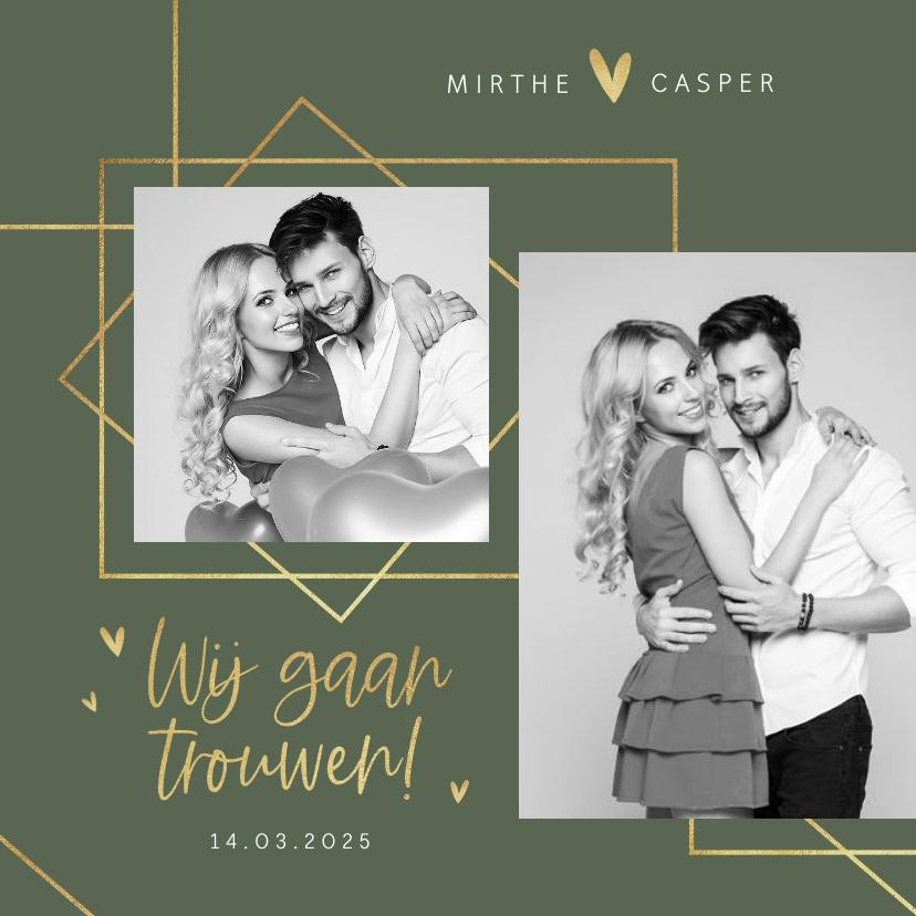 Trouwkaarten - Trouwkaart modern stijlvol goud grafisch hartjes foto's