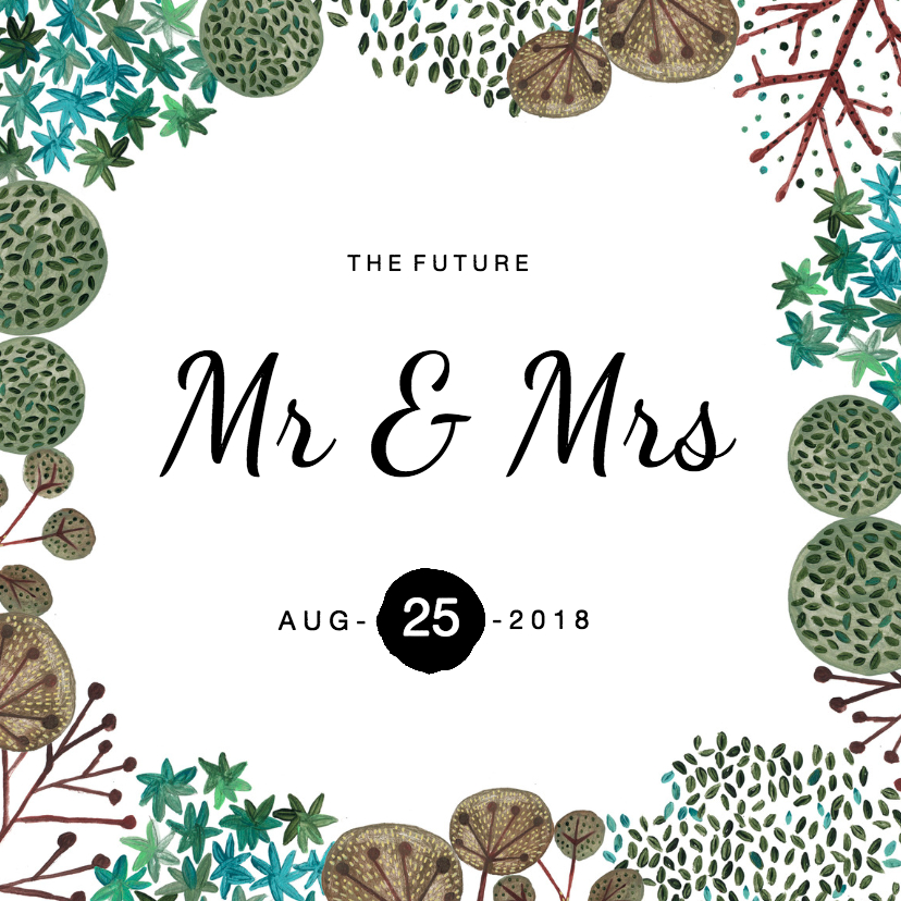 Trouwkaarten - Trouwkaart Mr & Mrs Rustic