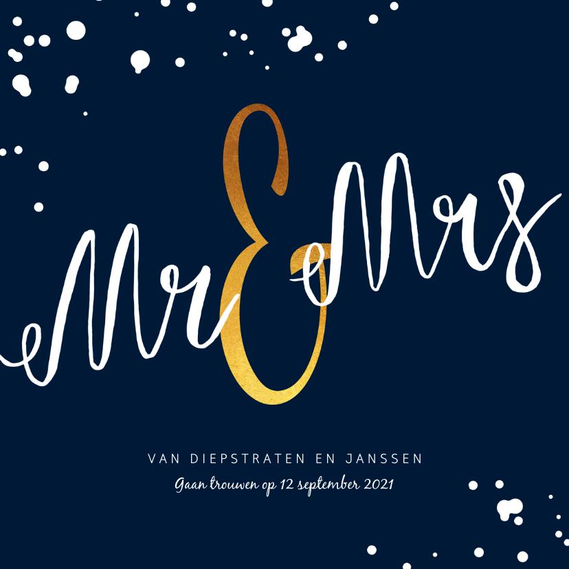 Trouwkaarten - Trouwkaart Mr & Mrs stijlvol met goud