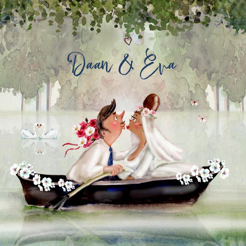 Trouwkaarten - Trouwkaart Romantisch in het bootje