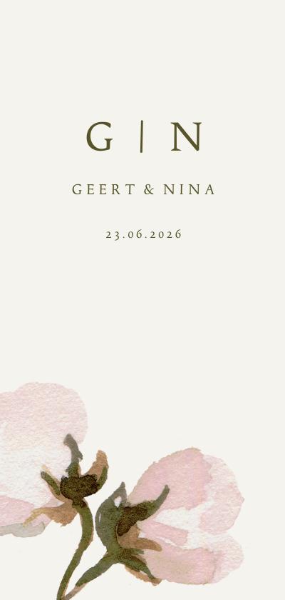 Trouwkaarten - Trouwkaart roze bloemen en initialen