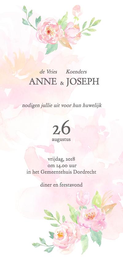 Trouwkaarten - Trouwkaart rozen aquarel