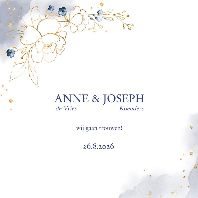 Trouwkaarten - Trouwkaart rozen blauw-goud