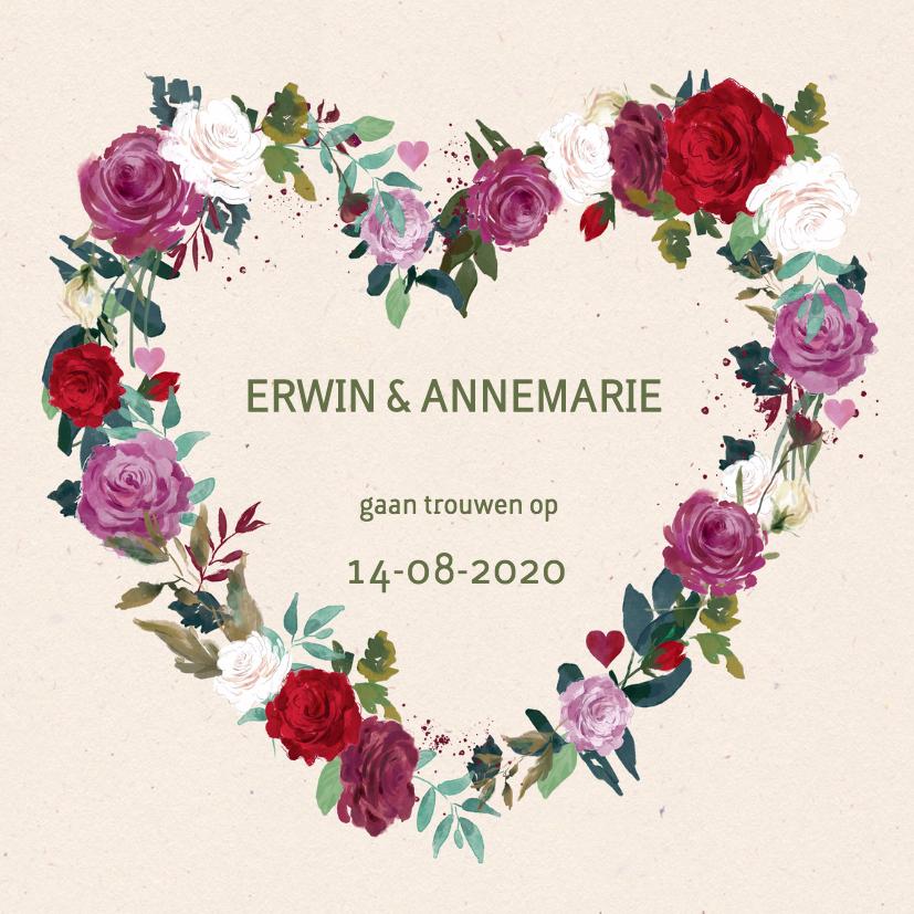 Trouwkaarten - Trouwkaart rozen mét foto