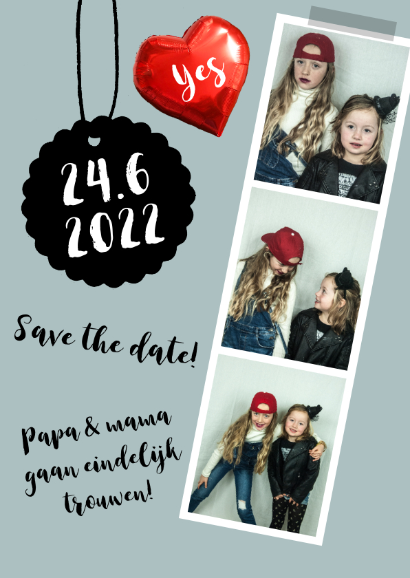 Trouwkaarten - Trouwkaart save the date fotocollage hart