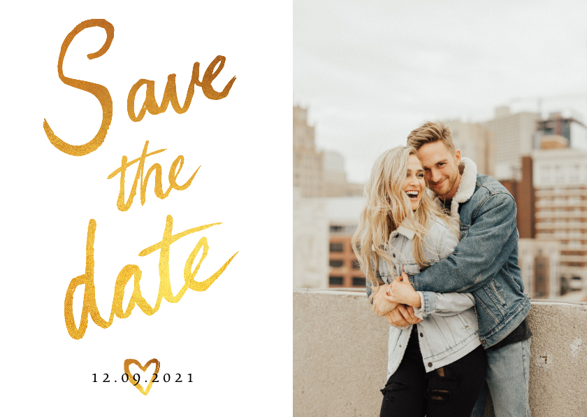 Trouwkaarten - Trouwkaart Save the date fotocollage met goud