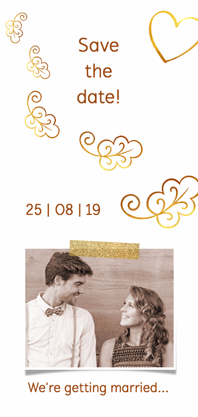 Trouwkaarten - Trouwkaart save the date glitter