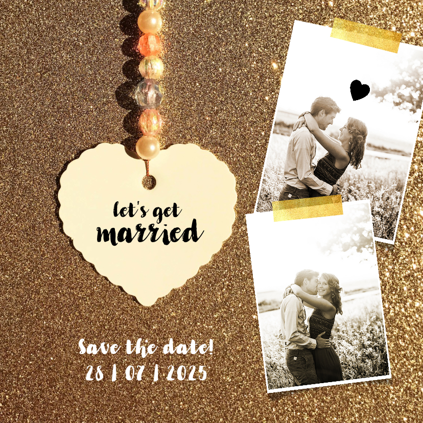 Trouwkaarten - Trouwkaart save the date gold
