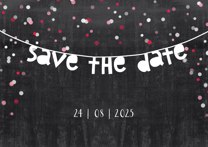 Trouwkaarten - Trouwkaart save the date krijt