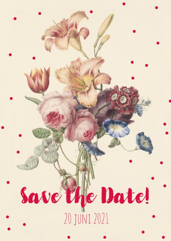 Trouwkaarten - Trouwkaart save the date met een vintage bloemenbos.