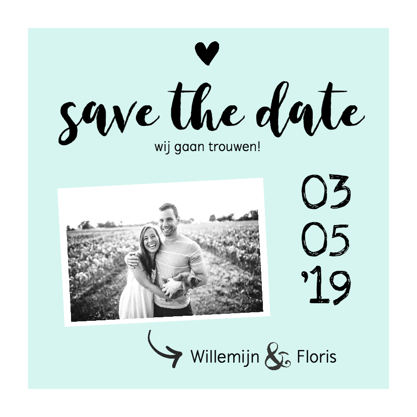 Trouwkaarten - Trouwkaart save the date met foto zwart/wit