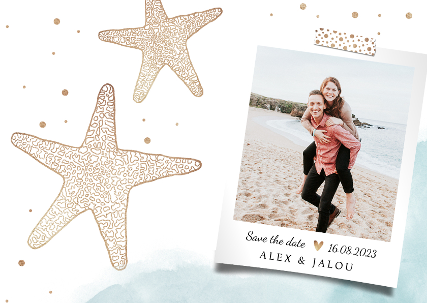 Trouwkaarten - Trouwkaart save the date strand zeester goud foto