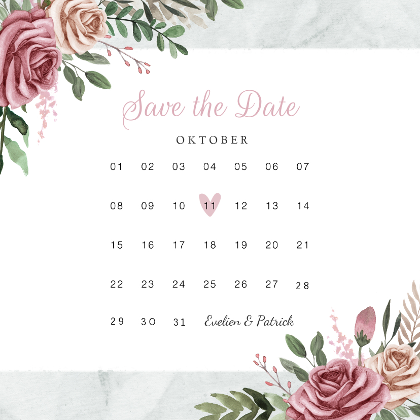 Trouwkaarten - Trouwkaart save the date vintage bloemen kalender
