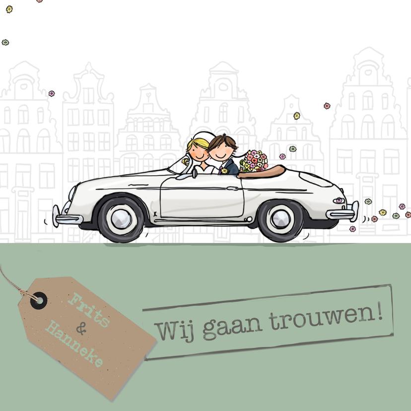 Trouwkaarten - Trouwkaart sportauto wit