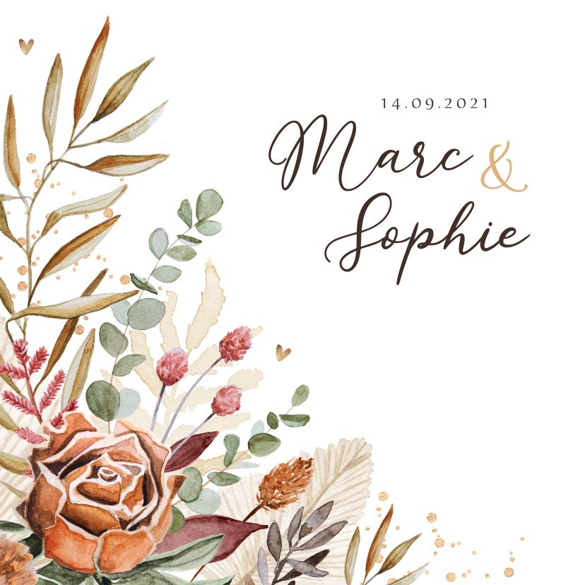 Trouwkaarten - Trouwkaart stijlvol droogbloemen vintage goud hartjes