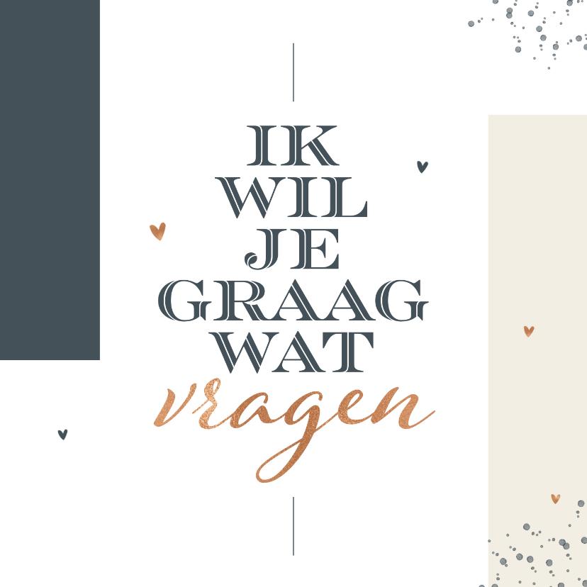 Trouwkaarten - Trouwkaart stijlvol modern grafisch getuige bruidsmeisje