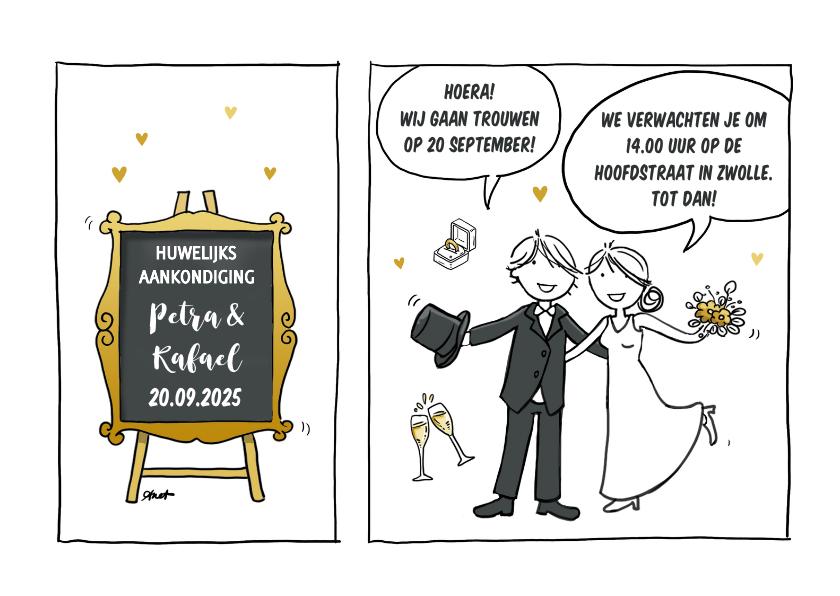 Trouwkaarten - Trouwkaart striptekening