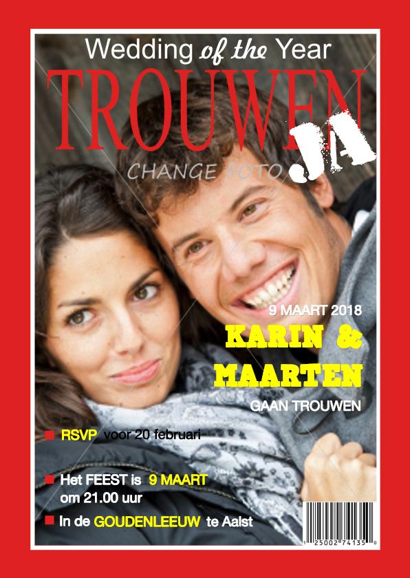 Trouwkaarten - Trouwkaart tijdschrift eigen foto Rood