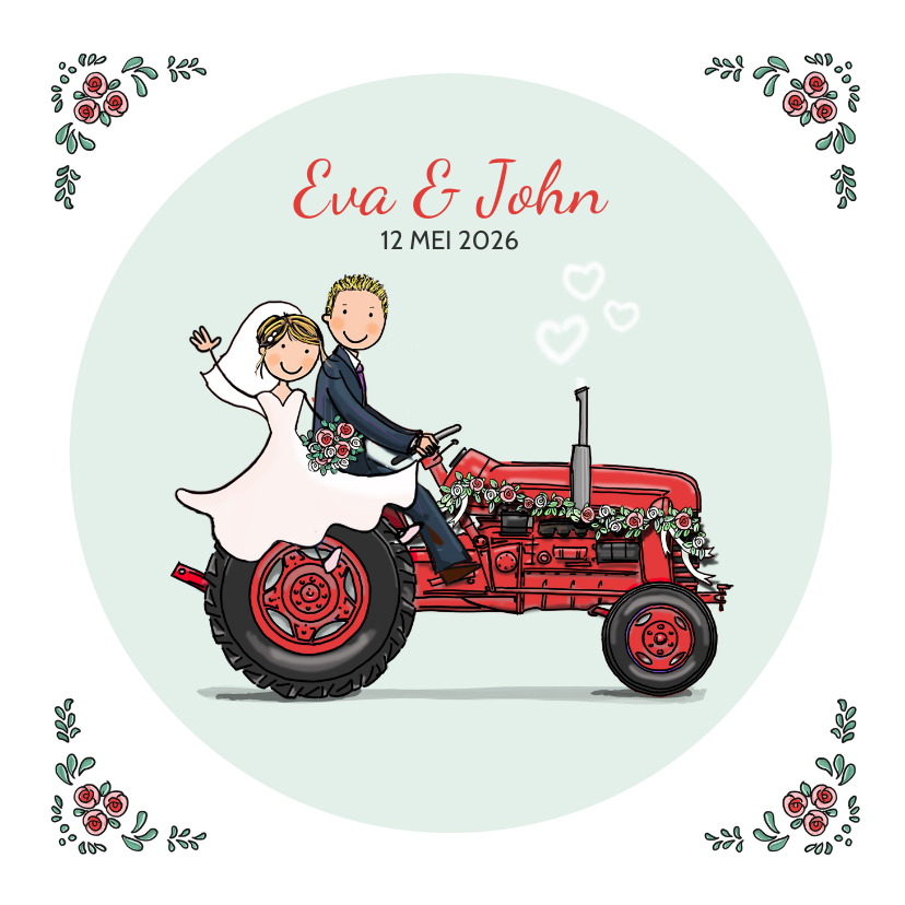 Trouwkaarten - Trouwkaart tractor Anet Illustraties