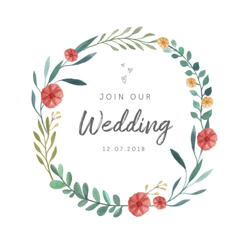Trouwkaarten - Trouwkaart uitnodiging met stijlvolle bloemen