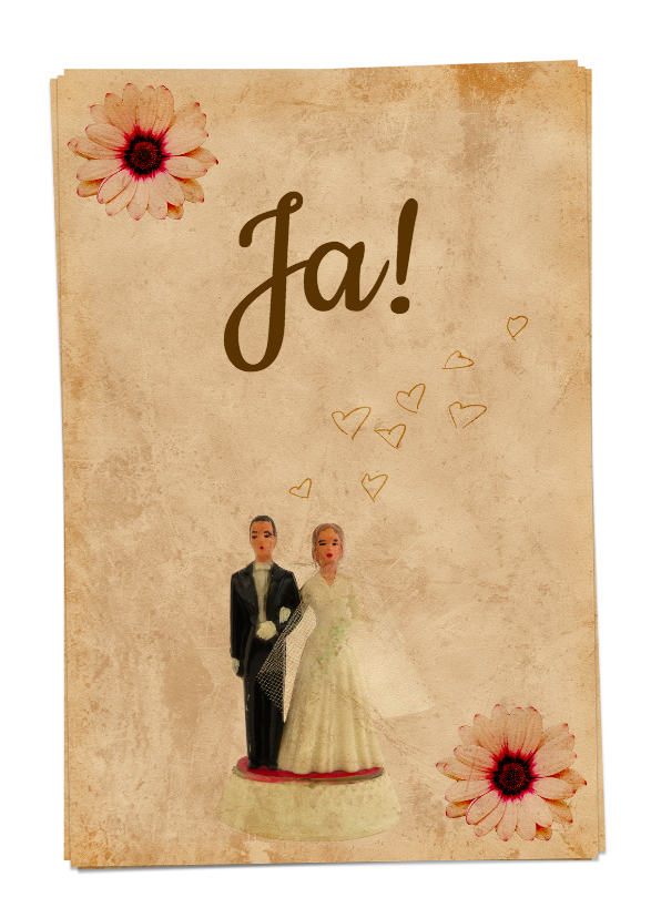 Trouwkaarten - Trouwkaart vintage bruidspaar-HR