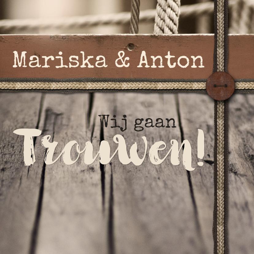 Trouwkaarten - Trouwkaart vintage hout en touw
