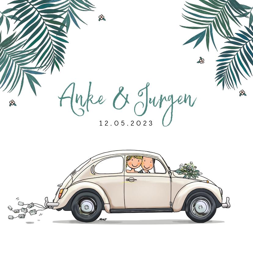 Trouwkaarten - Trouwkaart VW Kever wit met bruidspaar