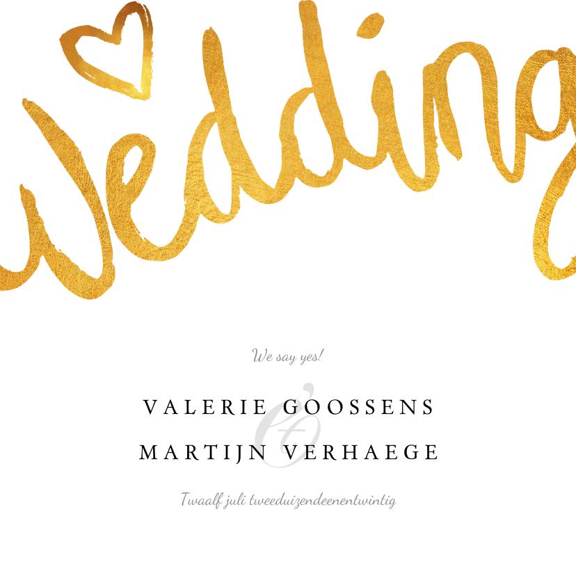 Trouwkaarten - Trouwkaart wedding stijlvol en klassiek met goud en foto