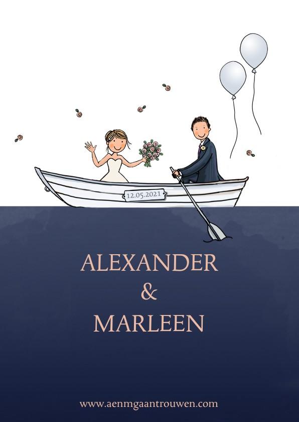 Trouwkaarten - Trouwkaart wit huwelijksbootje