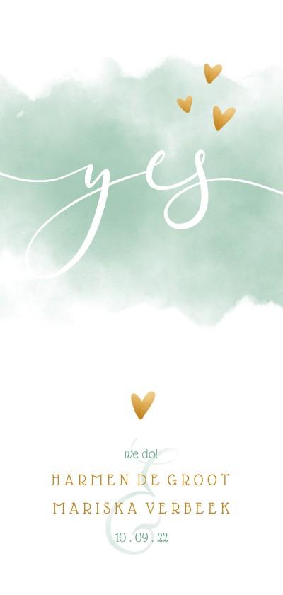 Trouwkaarten - Trouwkaart 'YES' met waterverf en gouden hartjes
