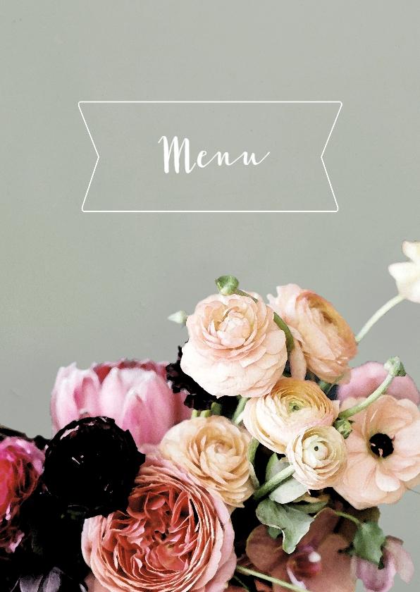 Trouwkaarten - Trouwmenu bloemen aquarelstijl licht