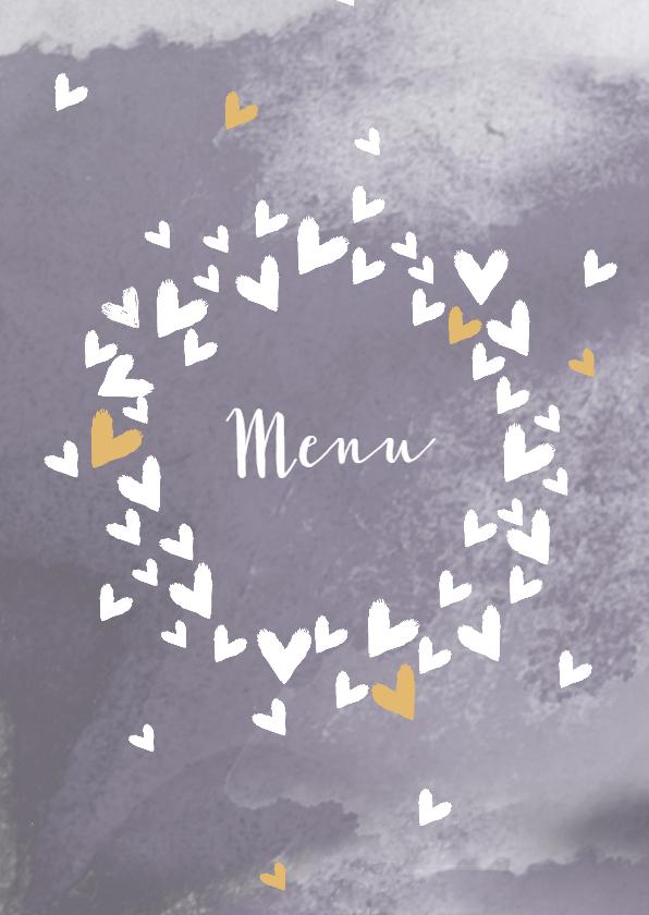 Trouwkaarten - Trouwmenu harten cirkel lila grijs