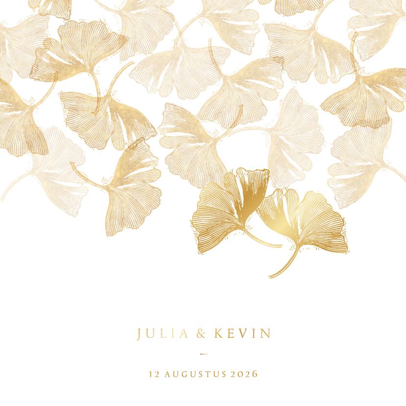 Trouwkaarten -  Uitnodiging voor bruiloft ginkgoblad stempel