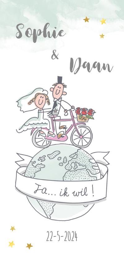 Trouwkaarten - Uitnodigingskaart huwelijksfeest met bruidspaar op fiets